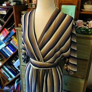 Vintage 1980s faux wrap striped secretary dress